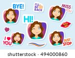 collection of stickers for chat ... | Shutterstock .eps vector #494000860