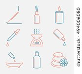 aromatherapy oils icons set.... | Shutterstock . vector #494006080