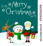 santa and friends elf gift... | Shutterstock .eps vector #494006098