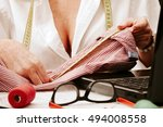 woman working in the sewing... | Shutterstock . vector #494008558