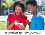two african american young... | Shutterstock . vector #494009410