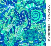 tracery seamless calming... | Shutterstock .eps vector #494014600