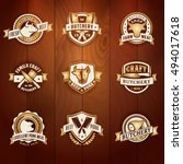 vector golden butchery logo set ... | Shutterstock .eps vector #494017618