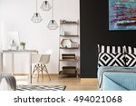 black and white interior with... | Shutterstock . vector #494021068