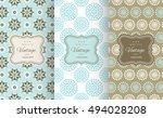 retro chic seamless pattern set.... | Shutterstock .eps vector #494028208