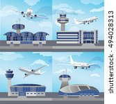 airport building set with... | Shutterstock .eps vector #494028313