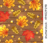 happy autumn vector seamless... | Shutterstock .eps vector #494029198