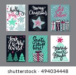 collection of six christmas... | Shutterstock .eps vector #494034448