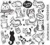 set of hand draw funny cats in... | Shutterstock .eps vector #494034454