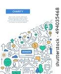 charity   line design brochure... | Shutterstock . vector #494035468