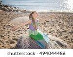 Young girl portrait in mermaid...