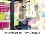 view through a glass wall.... | Shutterstock . vector #494050876