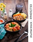 seafood soup tom yum and... | Shutterstock . vector #494052733