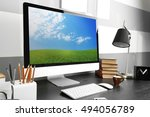 comfortable workplace with... | Shutterstock . vector #494056789