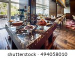 sweet table in modern hotel... | Shutterstock . vector #494058010