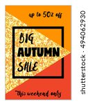 cute autumn seasonal sale flyer ... | Shutterstock .eps vector #494062930