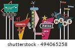 classic american signboards set ... | Shutterstock .eps vector #494065258