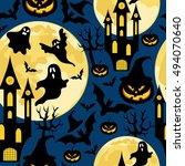 halloween background.seamless... | Shutterstock .eps vector #494070640