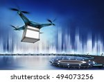 drone with safety box at flight ... | Shutterstock . vector #494073256