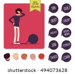 businessman chained with a... | Shutterstock .eps vector #494073628