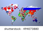 the world map with all states... | Shutterstock . vector #494073880