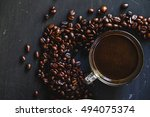 roasted coffee bean in white... | Shutterstock . vector #494075374
