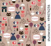 color french seamless vector... | Shutterstock .eps vector #494076256