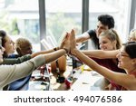 teamwork power successful... | Shutterstock . vector #494076586