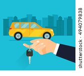 buying the car. the hand... | Shutterstock .eps vector #494079838
