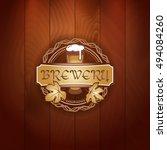 retro styled gold logo of pub... | Shutterstock .eps vector #494084260