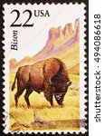 Small photo of Milan, Italy - June 18, 2016: American buffalo bull on us postage stamp
