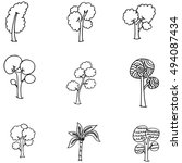 hand draw doodle tree set