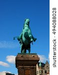 Small photo of Old statue of Bishop Absalon and his horse - St Kunsthallen Nikolaj church in Copenhagen, Denmark.