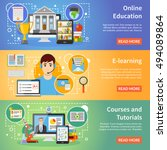 online education information 3... | Shutterstock .eps vector #494089864