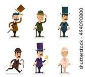 victorian gentleman characters... | Shutterstock .eps vector #494090800