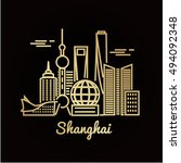 shanghai city golden... | Shutterstock .eps vector #494092348