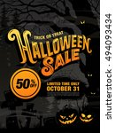 halloween sale. vector... | Shutterstock .eps vector #494093434