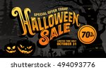 halloween sale. vector... | Shutterstock .eps vector #494093776