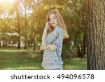 beautiful woman with blue eyes... | Shutterstock . vector #494096578