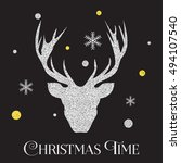 christmas silver deer... | Shutterstock .eps vector #494107540