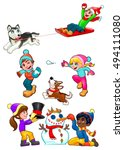 children are playing with snow. ... | Shutterstock .eps vector #494111080