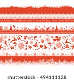 flat monochrome seamless... | Shutterstock .eps vector #494111128