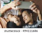 lgbt lesbian couple moments...   Shutterstock . vector #494111686