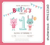 greeting card design with cute... | Shutterstock .eps vector #494112160