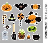 set cute  halloween elements in ... | Shutterstock .eps vector #494118340