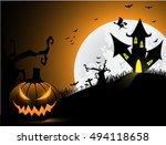 halloween border for design | Shutterstock .eps vector #494118658