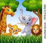 vector illustration of cartoon... | Shutterstock .eps vector #494121580