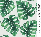 watercolor tropical palm leaves ... | Shutterstock . vector #494122249