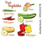 fresh raw vegetables. green... | Shutterstock .eps vector #494124178