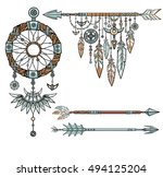 set of ethnic objects. native...